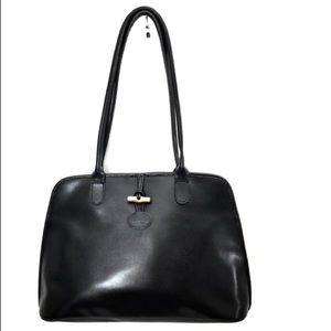 Longchamp Roseau Shoulder Black Leather Tote